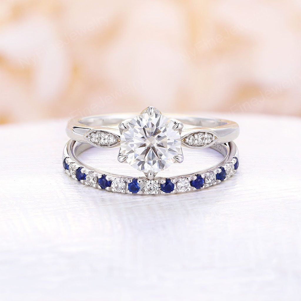 Moissanite engagement ring set white gold ring round moissanite diamond halo sapphire wedding band Unique art deco ring Anniversary Promise