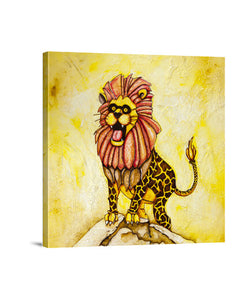 lienzos a lion with giraffe costume, talla 40 x 40