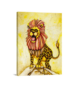 lienzos a lion with giraffe costume, talla 30 x 40
