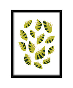 cuadros beautiful abstract clawed green leaf pat, talla 30 x 40