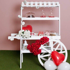 Carrito Candy Bar Madera Envejecida Strawberry - Blanco