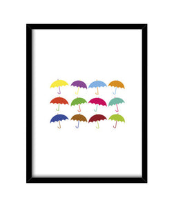 cuadros colorful umbrellas, talla 30 x 40