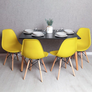 Conjunto Mesa Tower Rectangular 120 x 80 cm Negra y Pack 4 Sillas Tower Basic - Amarillo