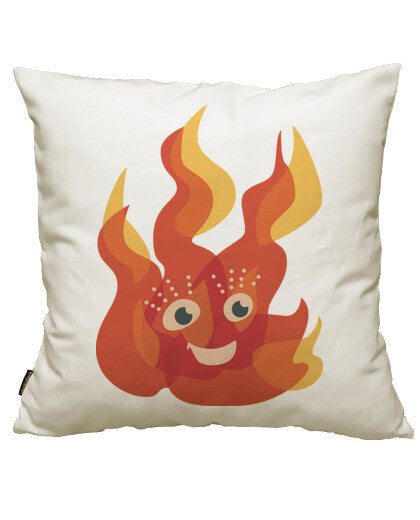 fundas cojines happy burning fire flame character, talla 50 x 50