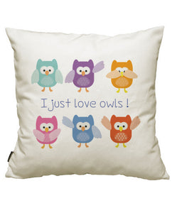 fundas cojines i just love owls!, talla 50 x 50