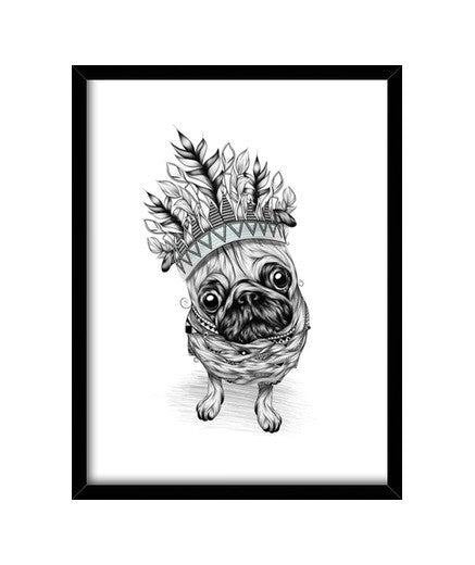 cuadros indian pug, talla 30 x 40