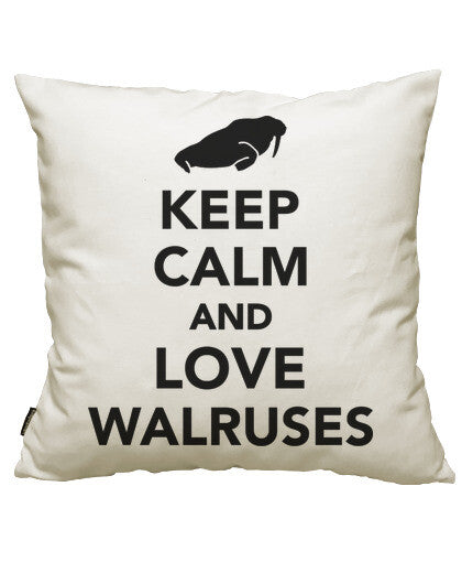 fundas cojines keep calm and love walruses, talla 50 x 50