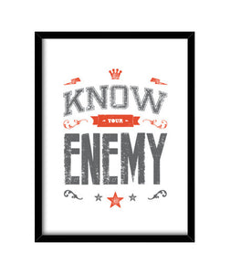 cuadros know your enemy, talla 30 x 40