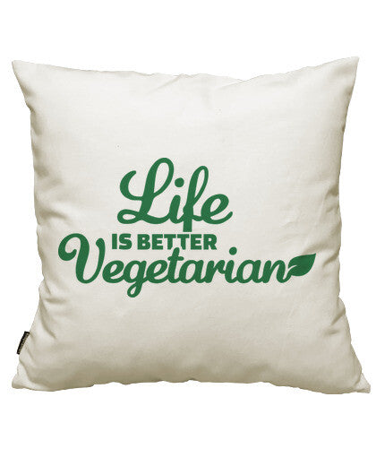 fundas cojines life is better vegetarian, talla 50 x 50