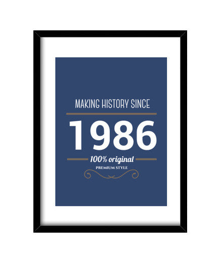 cuadros making history 1986 white text, talla 30 x 40