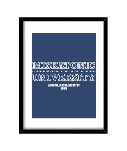 cuadros miskatonic university white, talla 30 x 40