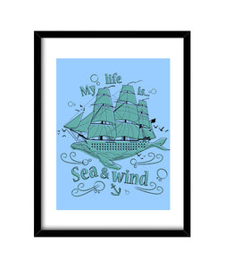 cuadros my life is sea and wind, talla 30 x 40