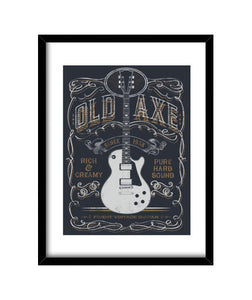 cuadros old axe lp, talla 30 x 40