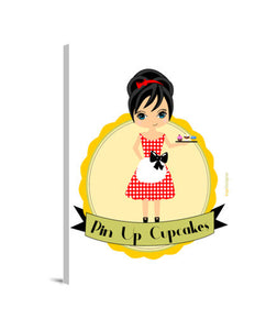 lienzos pin up cupcakes, talla 30 x 40