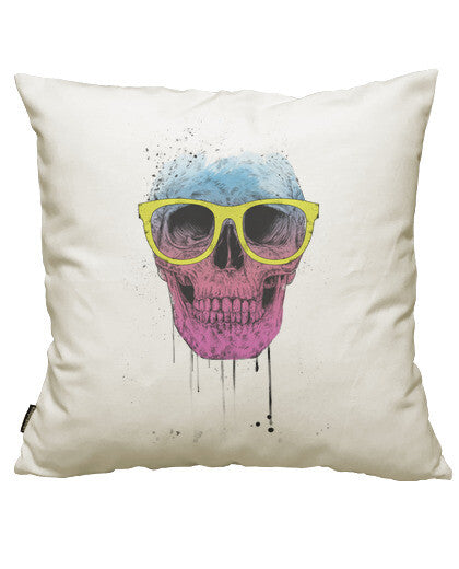 fundas cojines pop art skull with glasses, talla 50 x 50