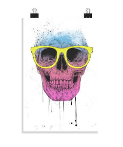posters pop art skull with glasses, talla 20 x 30