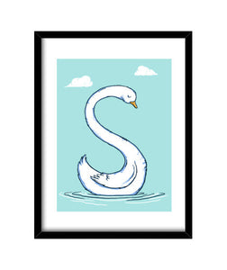 cuadros s is for swan, talla 30 x 40