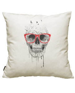 fundas cojines skull with red glasses, talla 50 x 50