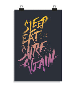 posters sleep, eat, surf, again, talla 20 x 30