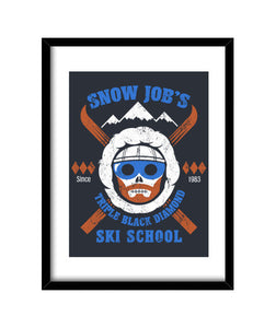cuadros snow job's ski school, talla 30 x 40