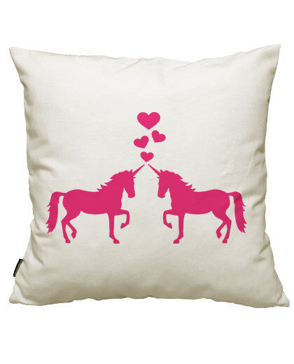 fundas cojines unicorns love hearts, talla 50 x 50