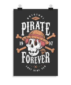posters wanted pirate forever, talla 20 x 30