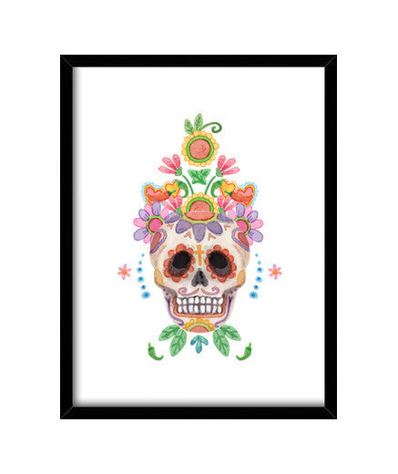 cuadros watercolor sugar skull, talla 30 x 40