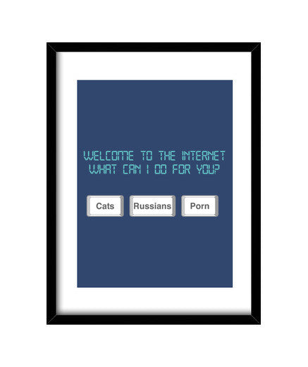 cuadros welcome to internet, talla 30 x 40