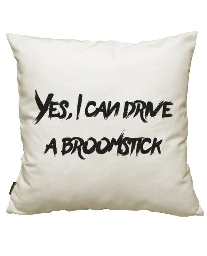 fundas cojines yes, i can drive a broomstick, talla 50 x 50