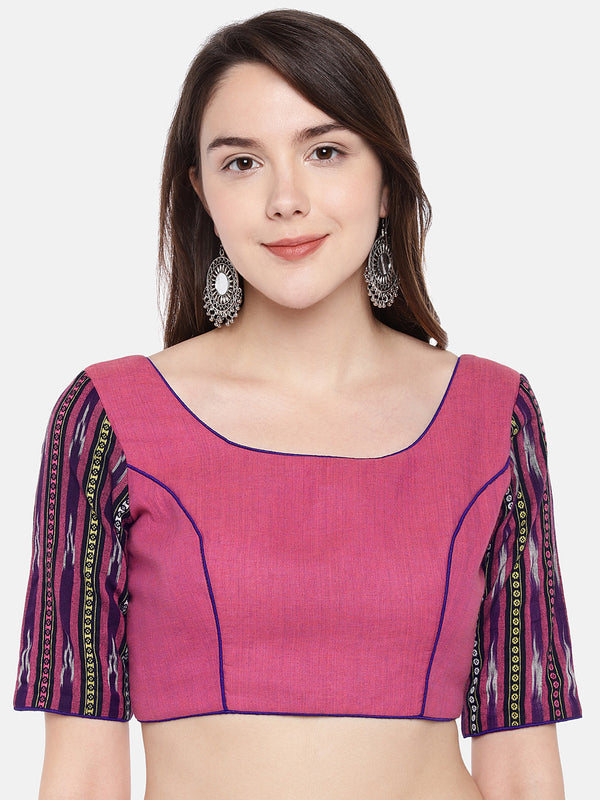 Just B Pink Cotton ikkat padded Blouse With jacquard printed sleeves