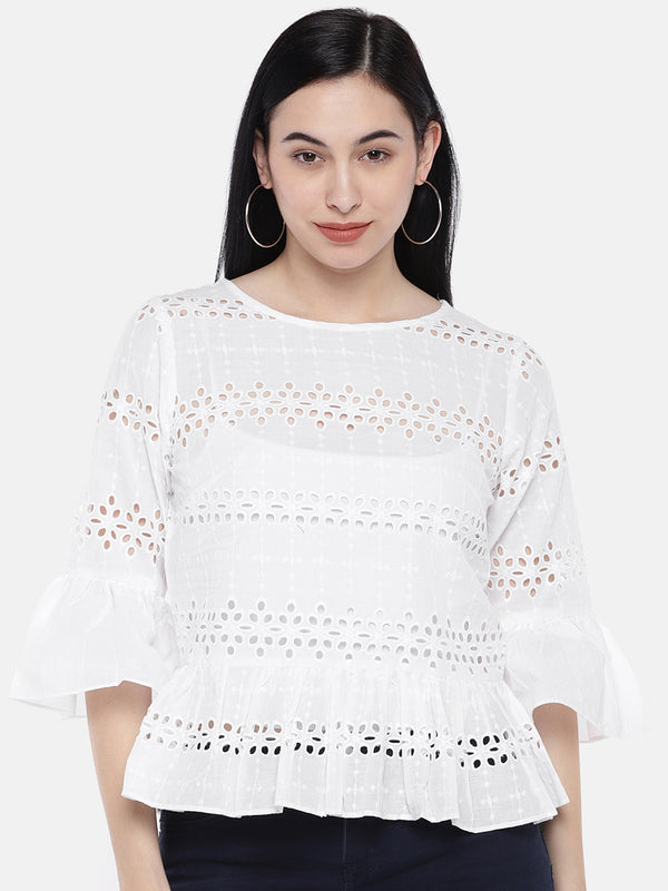 Just B White Lace Up Top With Boat Neck And Bell Sleeves