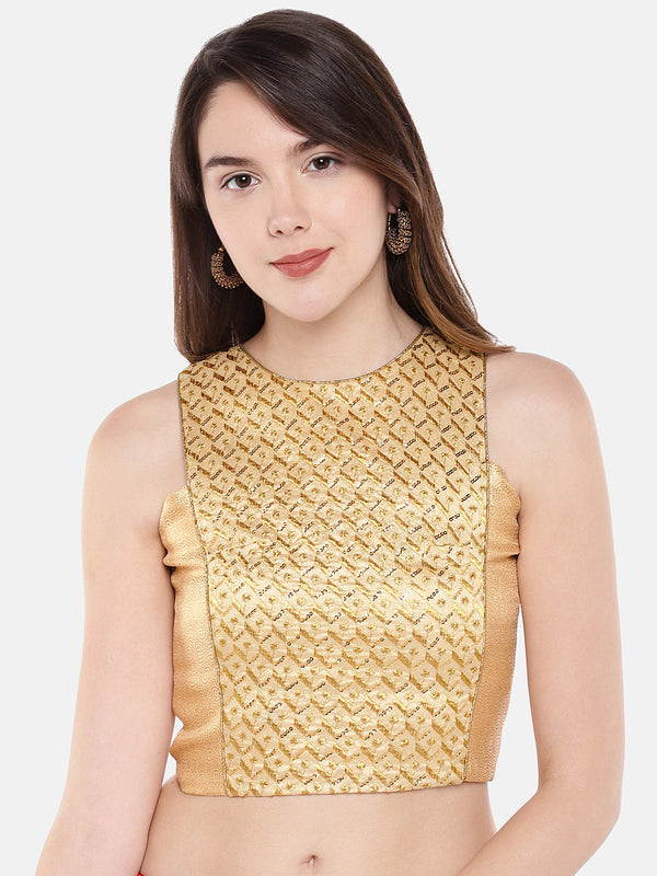 Just B gold multi head embroidered Non Padded Blouse