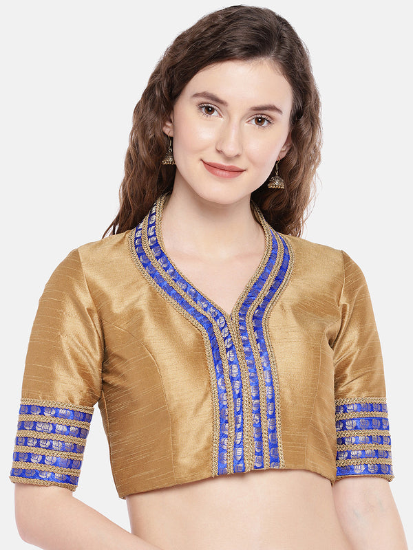 Just B gold & blue shawl collar padded blouse