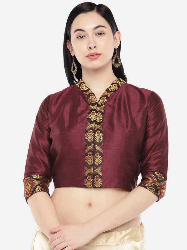 Just B Brown Dupion With Brocade Shawl Collar Croptop
