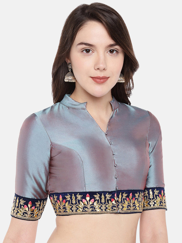 Just B Grey Padded Taffeta Blouse With Elbow Sleeves