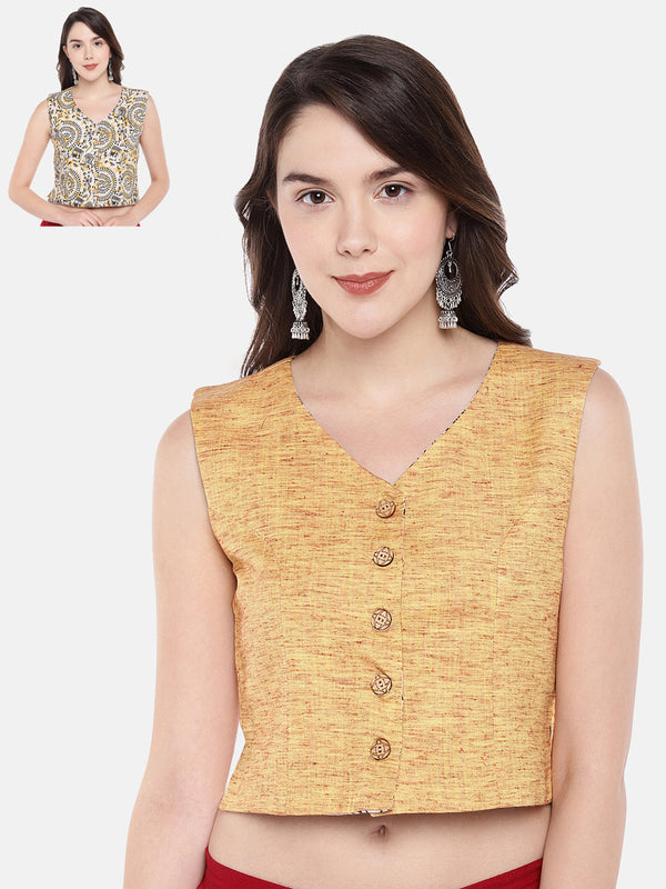 Just B jacket style Reversible Sleeveless blouse of Signature Yellow Brown Khaadi fabric..