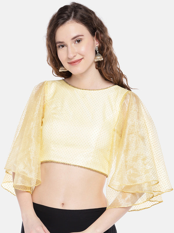 Just B Gold Padded net Blouse with ruffle sleeves