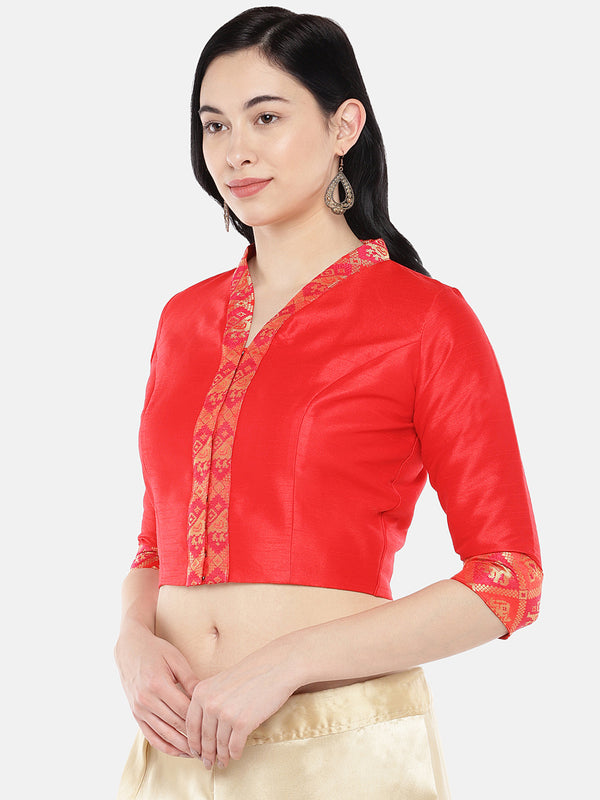 Just B Red Dupion With Brocade Shawl Collar Croptop