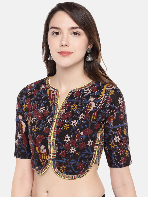 Just B multi color elbow sleeve kalamkari block print cotton jacket blouse.