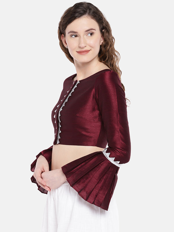 Just B maroon Raw Silk Boat Neck Readymade  non padded Blouse