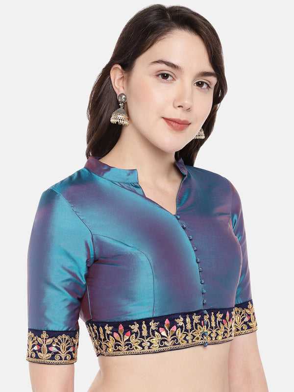 Just B Blue Padded Taffeta Blouse With Elbow Sleeves