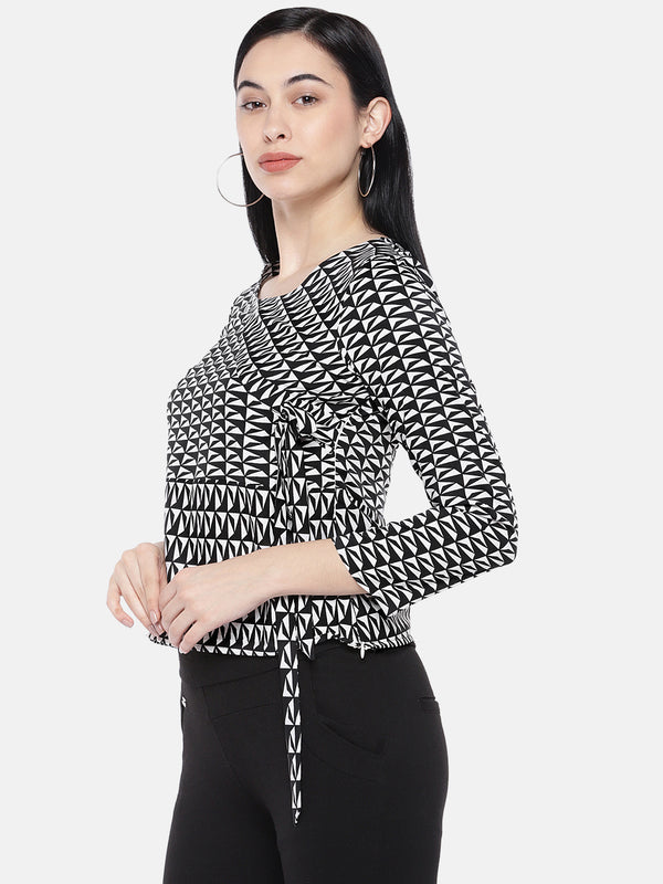 Just B Black And White Geometric Print Top With Boat Neck