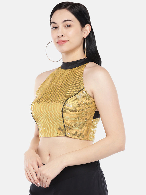 Just B Yellow Sequins Croptop.