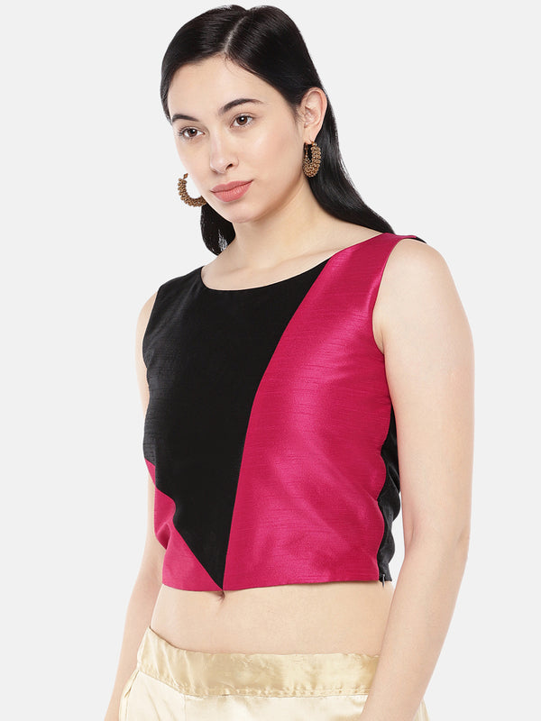 Just B Pink Dupion With Black Panel Croptop.