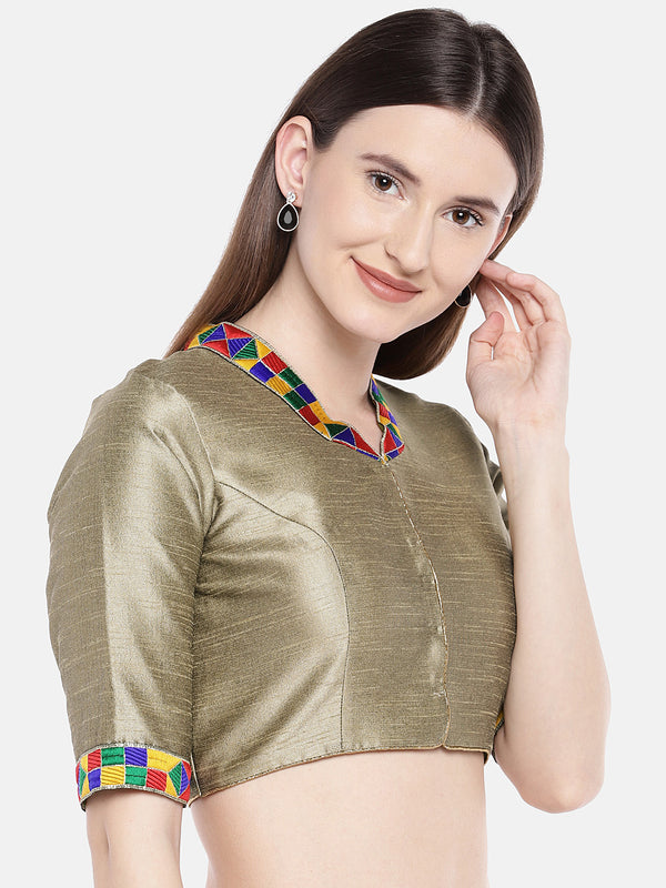 Just B Mehndi Gold Padded Dupion Blouse With Multicolored Lace