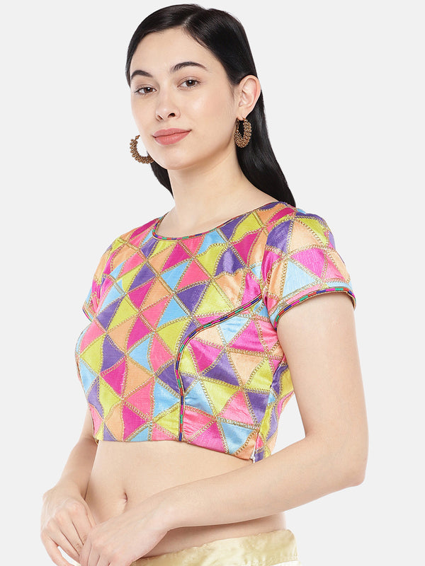 Just B Dupion Digital Print With Multihead Work Croptop With Shimmer Piping