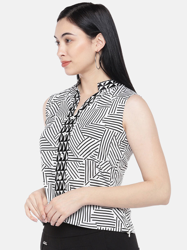 Just B Black And White Shirt Type Top