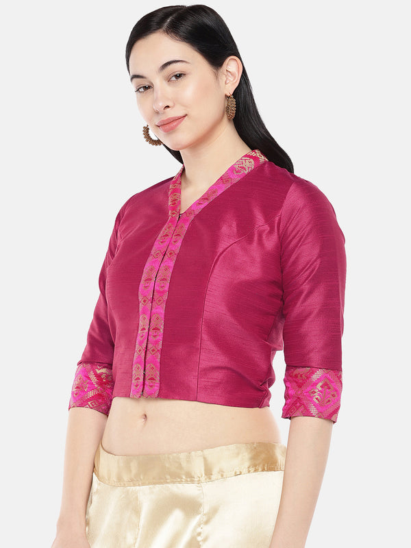 Just B Pink Dupion With Brocade Shawl Collar Croptop
