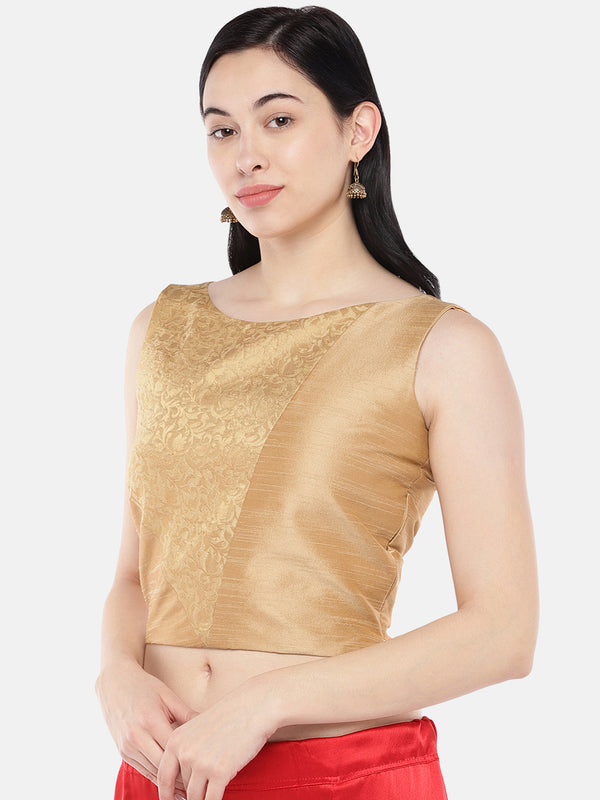 Just B Gold Dupion With Brocade Panel Croptop.