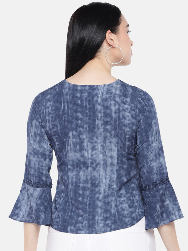 Just B Indigo Top With GPO Lace On Front Neck And Sleeves